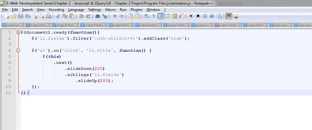 Developing a simple project on JavaScript and jQuery