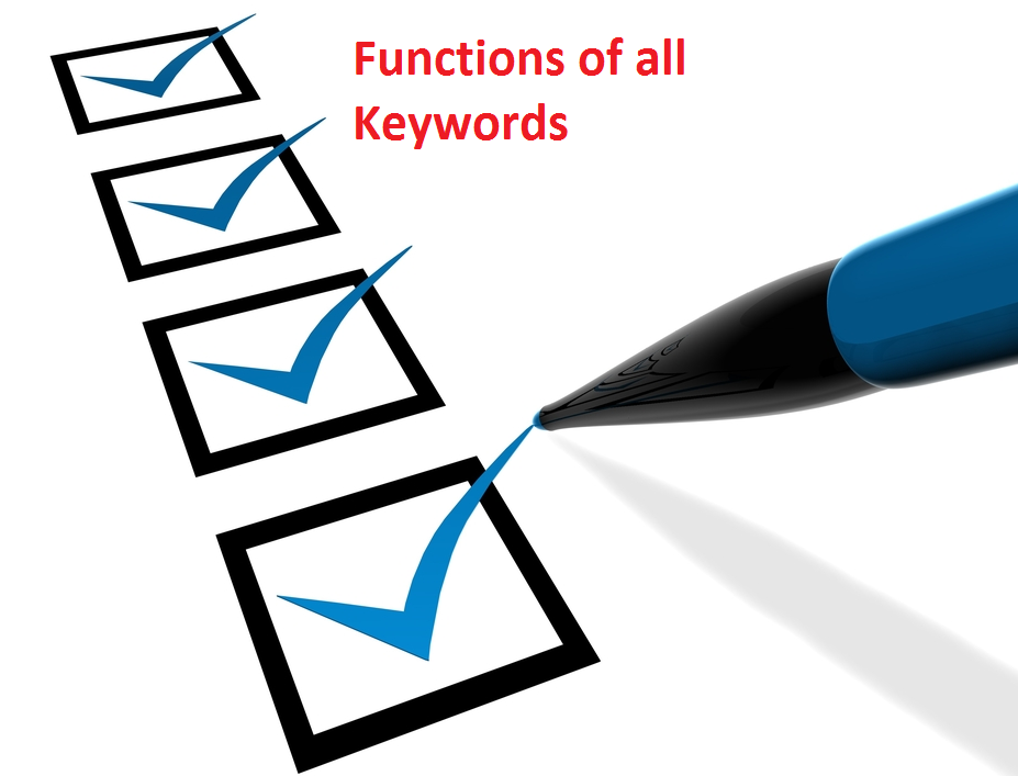 Learn different keywords in Java and its implementaions