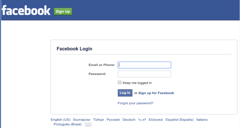 FaceBook Authorisation endpoint