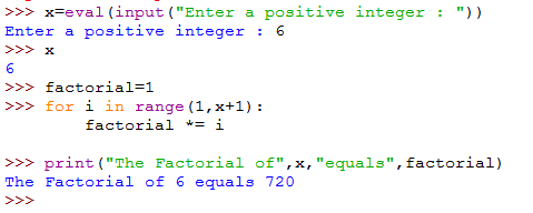 A script that calculates the factorial of an integer using for loop