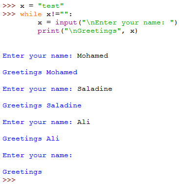 A script that keeps asking the user to enter a name,