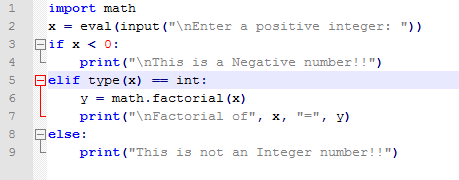 Modified Version of the factorial script that validates for negative input