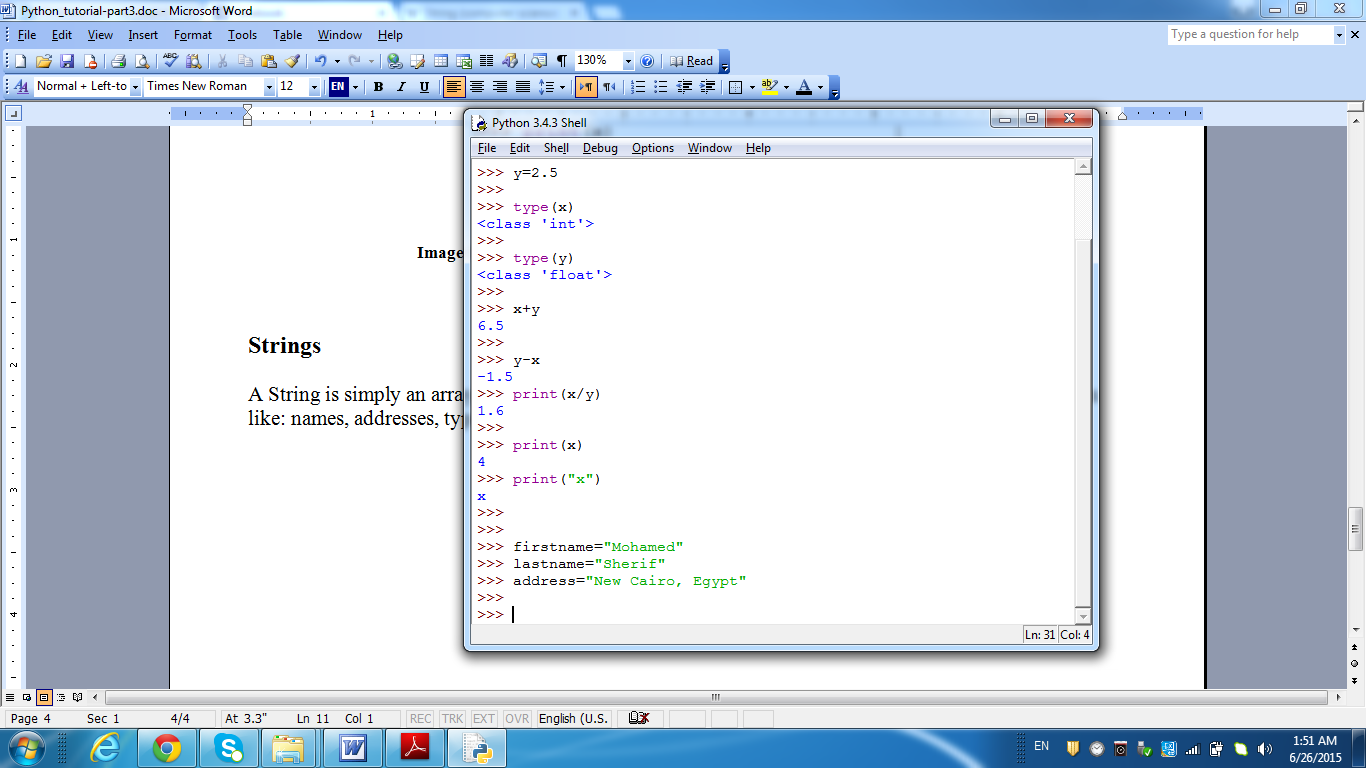 String Variables' assignment.