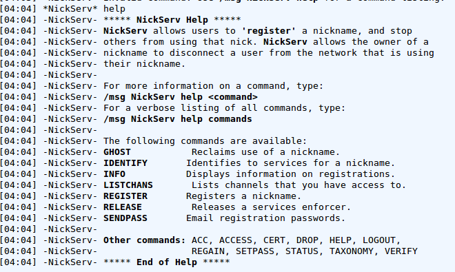 help nickserv