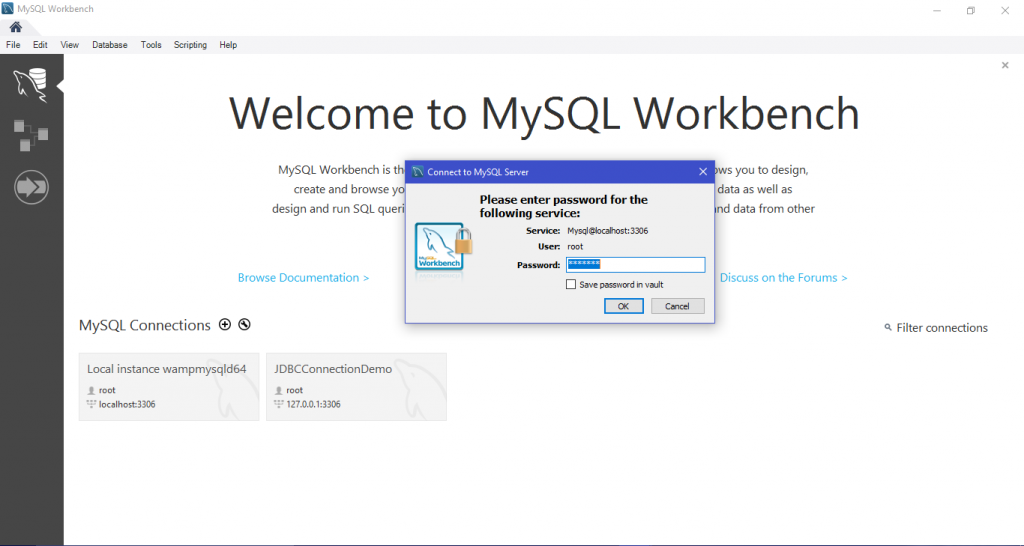 Enter Password MySQL workbench