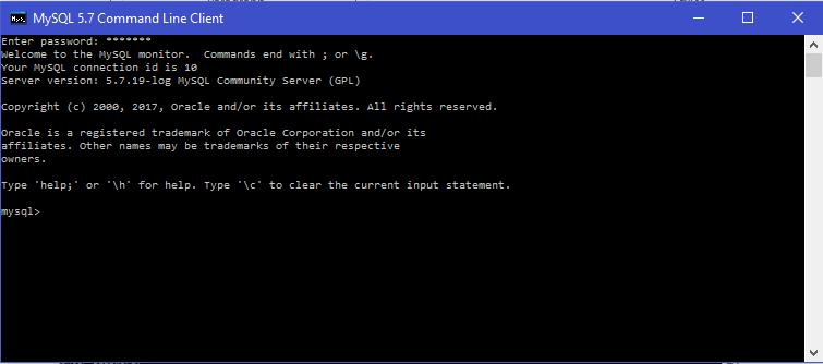 MySQL 5.7 command