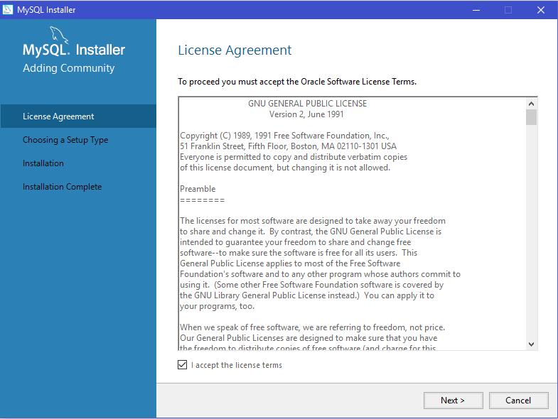 MySQL Installer _ License Agreement