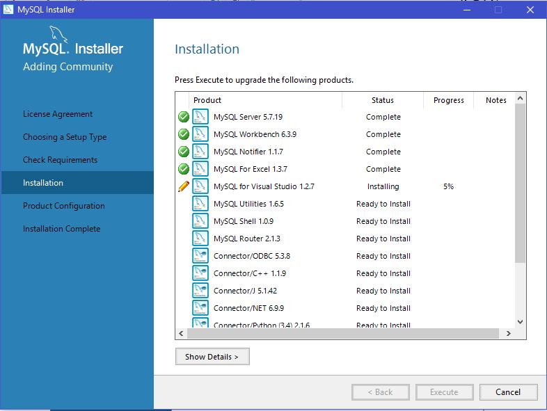 installation of MySQL products