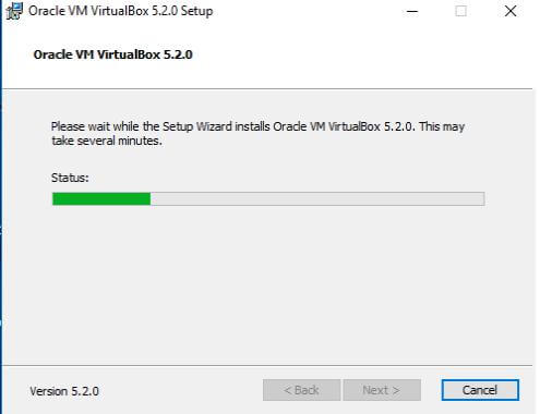 VM virtualbox setup wizard