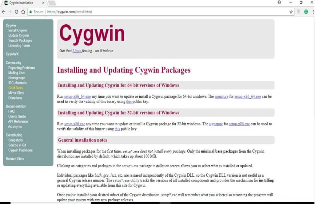 install Cygwin