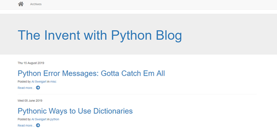 Invent with Python Blog