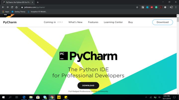 PyCharm homepage