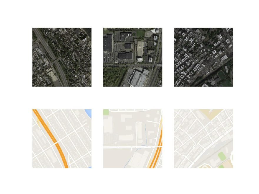 Figure 9. Plot of Three Image Pairs Showing Satellite Images (top) and Google Map Images (bottom). Plot of Three Image Pairs Showing Satellite Images (top) and Google Map Images (bottom