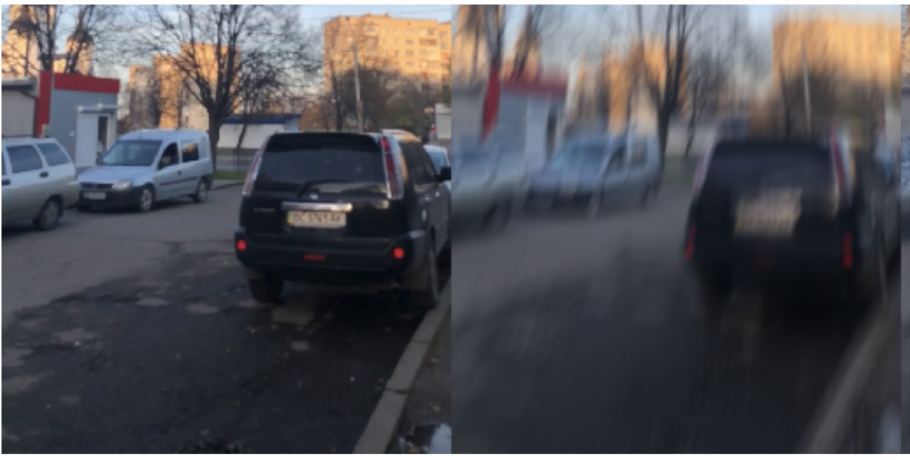 Figure 19. A sample from the GoPro Dataset. Sharp Image (Left) and Motion Blurred Image (Right)