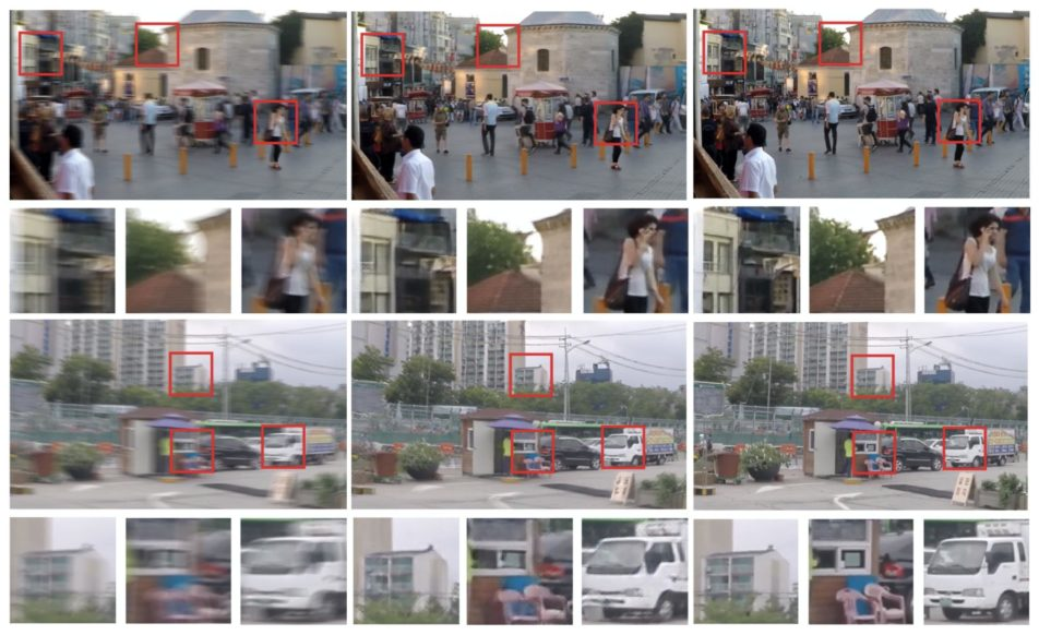 """Figure 20. GoPro images processed by DeblurGAN. Blurred – left, DeblurGAN – center, Ground Truth Sharp – right taken from the paper """"DeblurGAN: Blind Motion Deblurring Using Conditional Adversarial Networks."""""""