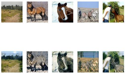 Figure 8. Plot of source images of Horses (top row) and translated images of Zebras (bottom row) after 50 epochs