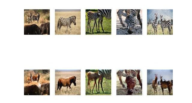 Figure 9. Plot of source images of Zebras (top row) and translated images of Horses (bottom row) after 60 epochs