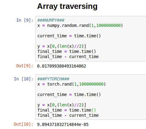 Speed test for basic array computations. PyTorch (Bottom) and NumPy (Top) - 7