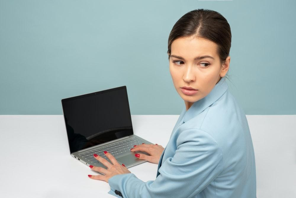 Cybercirme, laptop, worry, scared female, programmer, hacking