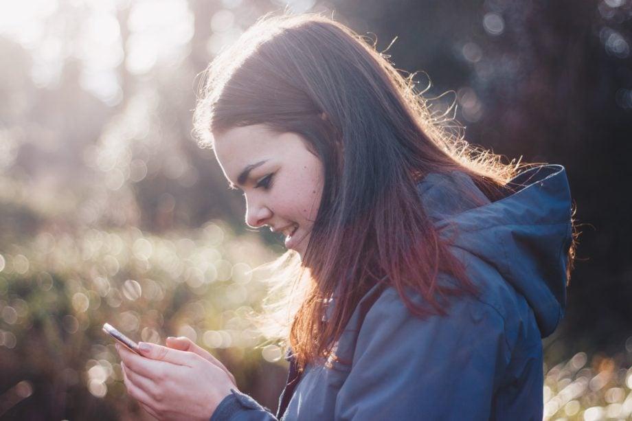 women, phone, happy