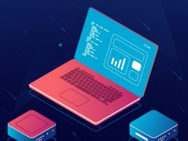 Soft development isometric vector, web design process, laptop with data, programming and code writing, dark neon