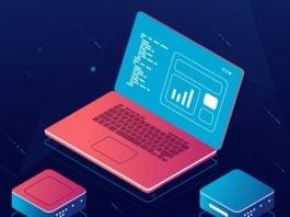 Soft development isometric vector, web design process, laptop with data, programming and code writing, dark neon