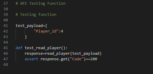 Code Example of the passed test case when player id exists in the database- Image 7