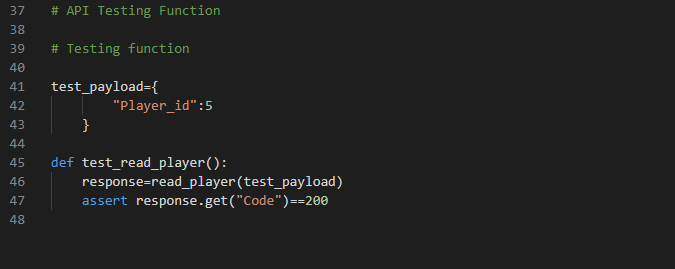 Code example of the failed test case when player id does not exist in the database- Image 9
