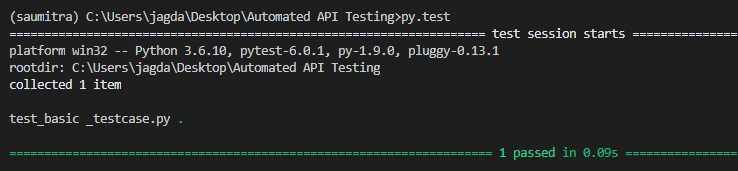 Simple test case in Pytest- result- image 2