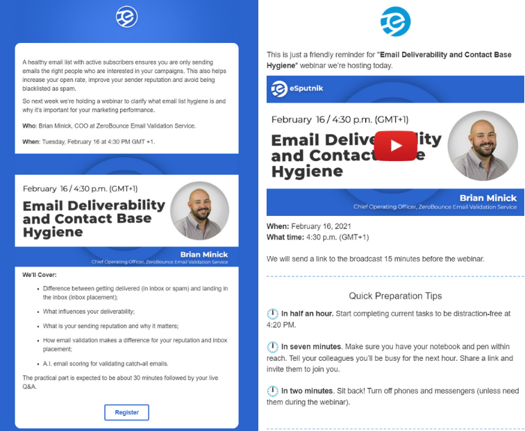 Examples of B2B webinar invitation & reminder